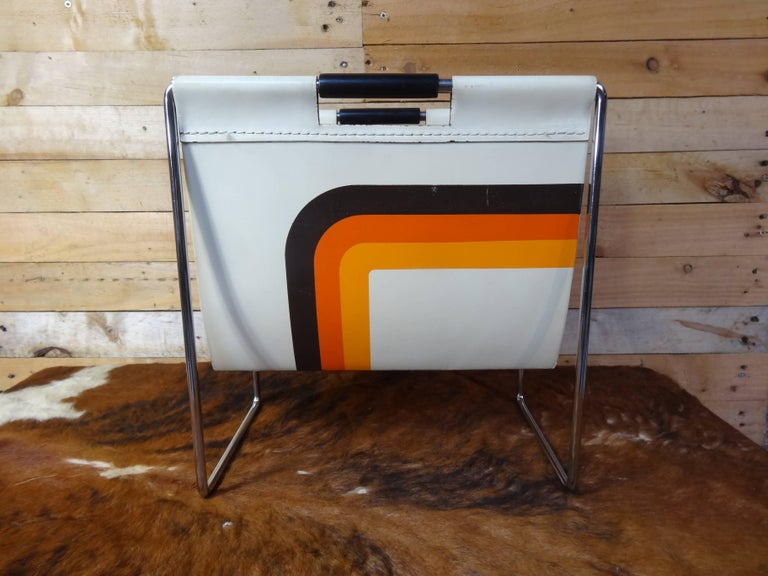Leather and Chrome Magazine Rack by Brabantia Holland In Excellent Condition For Sale In Cowthorpe, GB