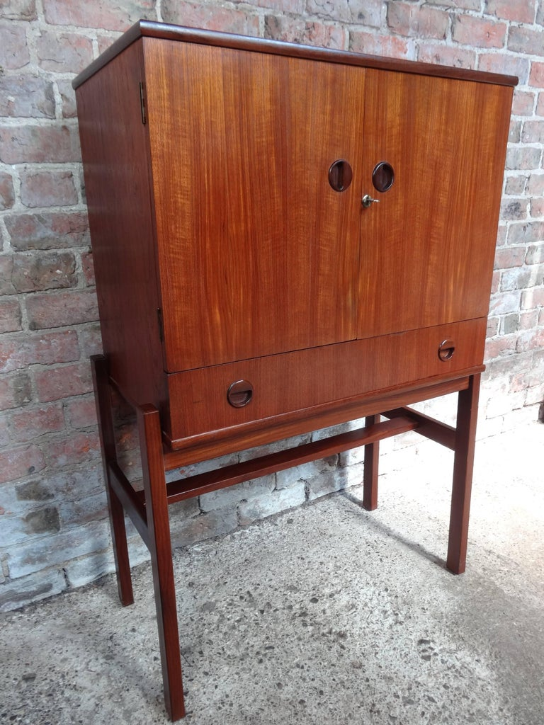Retro Vintage 1960 Cocktail Cabinet with Mirror and Glass ...