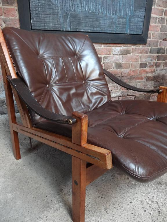 Mid-Century Modern 1960 vintage Torbjorn Afdal Brown Leather Sling Armchair by Bruksbo, Norway For Sale