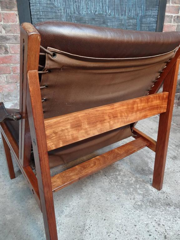 1960 vintage Torbjorn Afdal Brown Leather Sling Armchair by Bruksbo, Norway In Good Condition For Sale In Cowthorpe, North Yorkshire