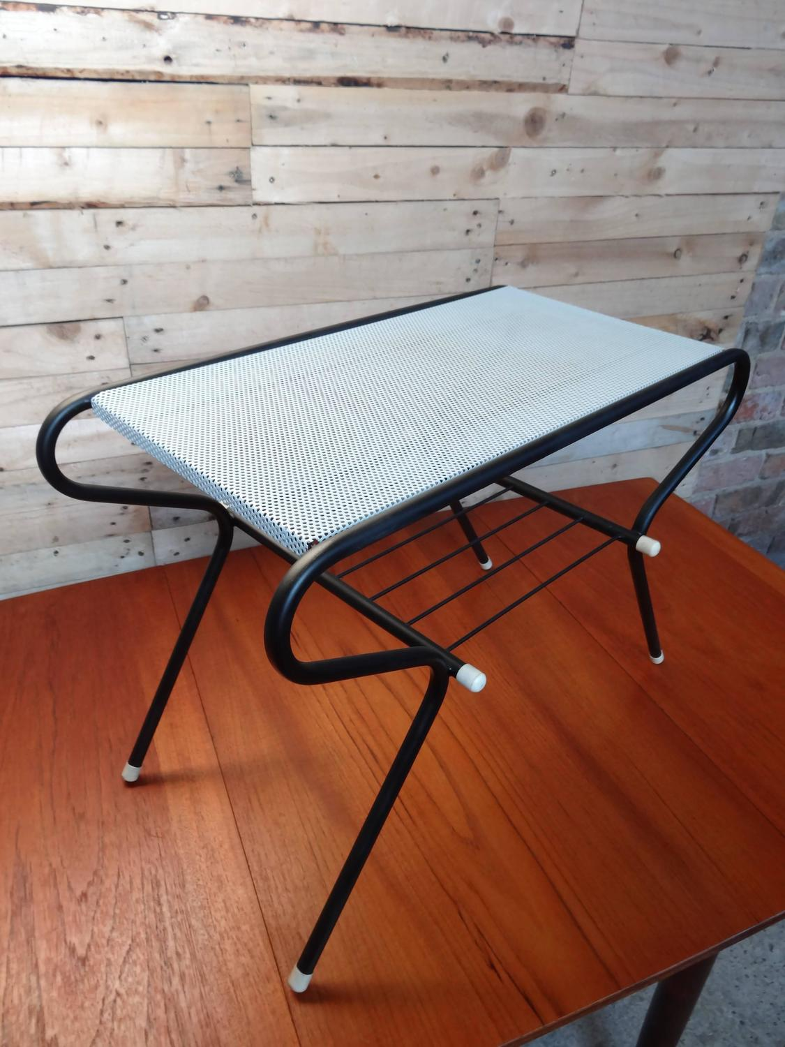 1950 Vintage Mathieu Mategot Black And White Metal Coffee Table For Sale At 1stdibs