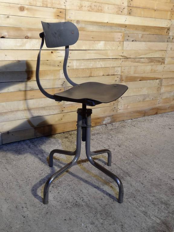 Tan-Sad Chair Co. 1930s Industrial Metal Height Adjustable Sewing Stool For Sale 1