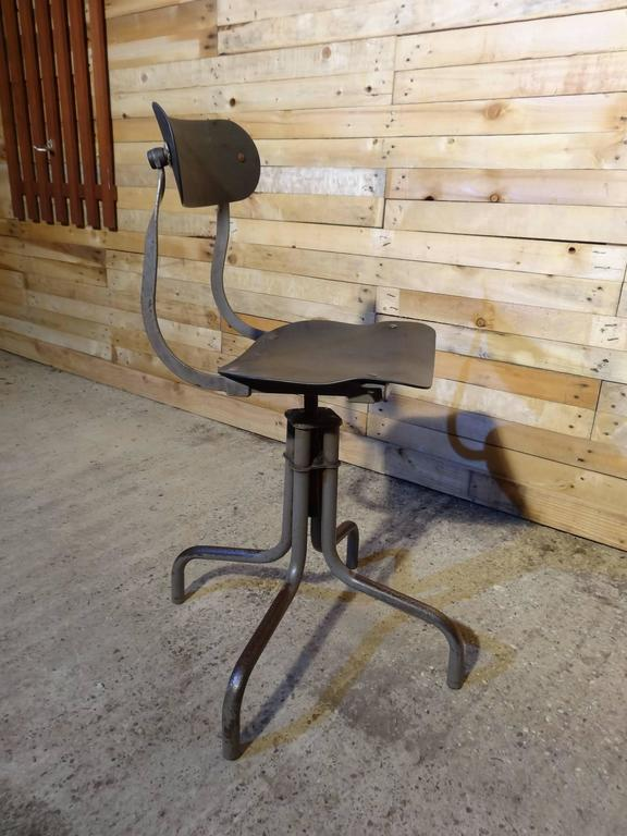 20th Century Tan-Sad Chair Co. 1930s Industrial Metal Height Adjustable Sewing Stool For Sale