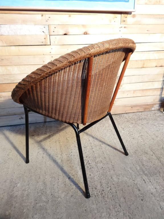 Metal 1960s Extremely Sought After Lloyds Loom Rotan Set of Chairs For Sale