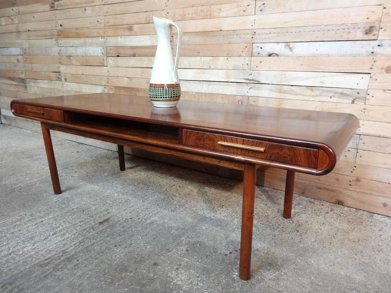 Exquisite Danish 1960s Retro Rosewood Coffee Table With Two Drawers 3
