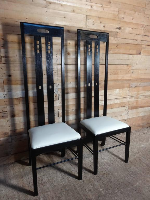 Art Nouveau Style Black Lacquer High Back Chairs, Labeled Macintosh For Sale 2