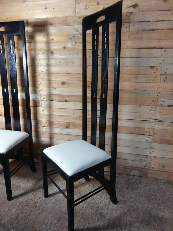 Scottish Art Nouveau Style Black Lacquer High Back Chairs, Labeled Macintosh For Sale