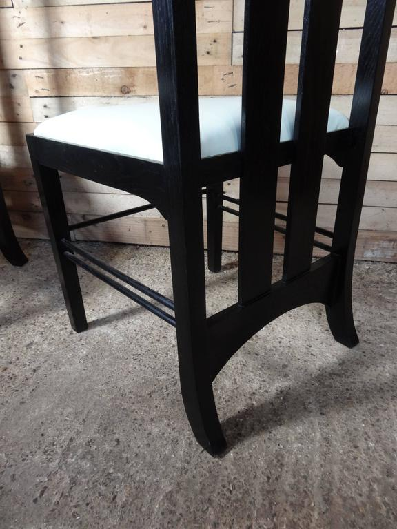 Art Nouveau Style Black Lacquer High Back Chairs, Labeled Macintosh In Good Condition For Sale In Cowthorpe, North Yorkshire