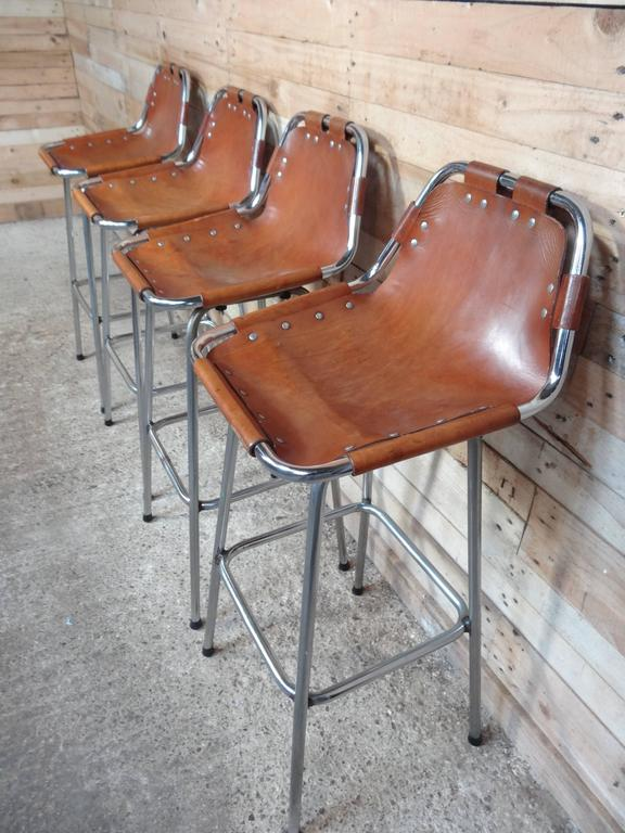 Mid-Century Modern Selected by Charlotte Perriand for the Les Arcs Ski Resort, Four High Bar Stools For Sale
