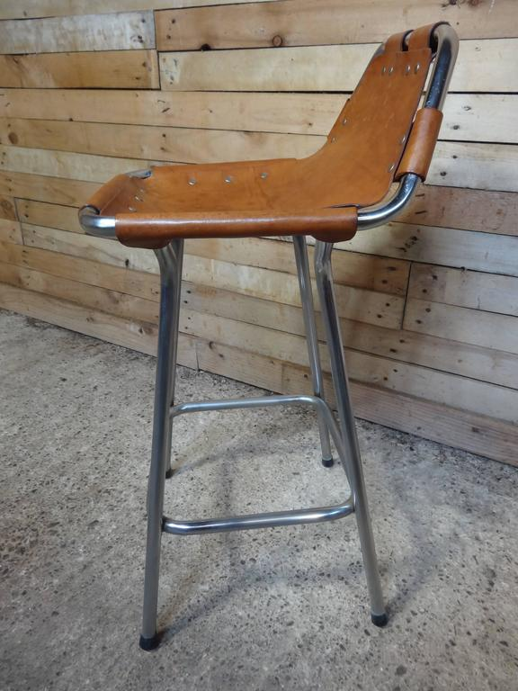 Mid-Century Modern Sought after ''Hourglass Framed'' Leather Charlotte Perriand Stool Les Arcs For Sale