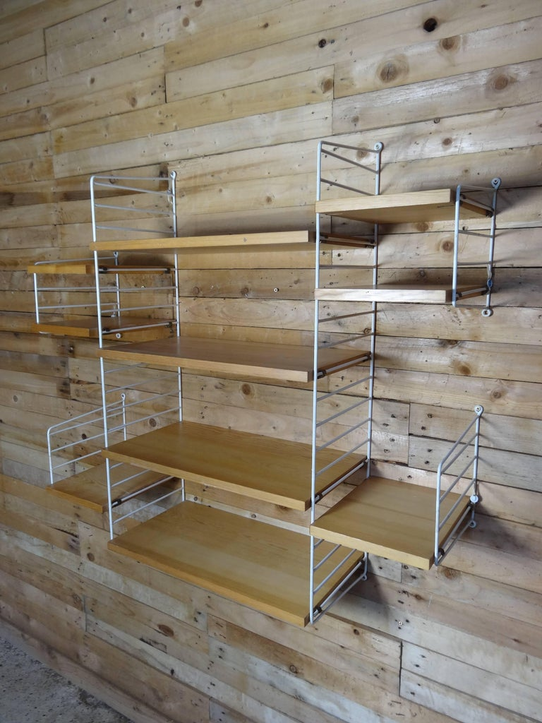 Swedish Large Wall Shelving Unit by Nisse Strinning for String, 1960s For Sale