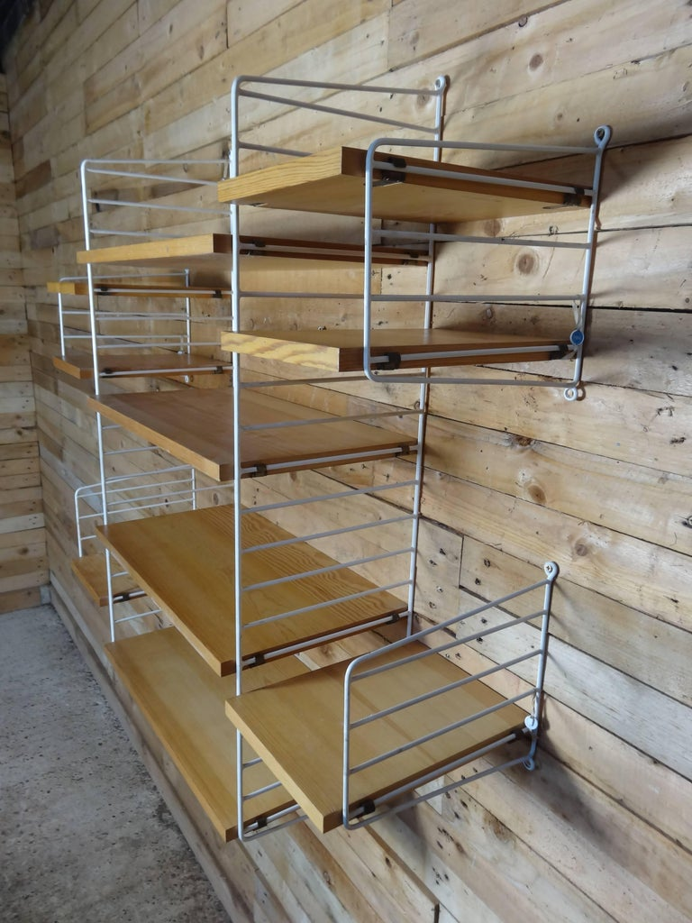 20th Century Large Wall Shelving Unit by Nisse Strinning for String, 1960s For Sale