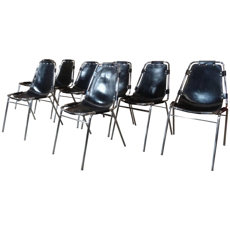 Selected by Charlotte Perriand Black Leather Chairs for Les Arcs, Set of Eight