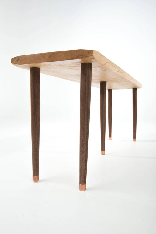 American Prime Bench in Curly, Spalted Maple with Walnut Legs and Copper Capped Feet For Sale