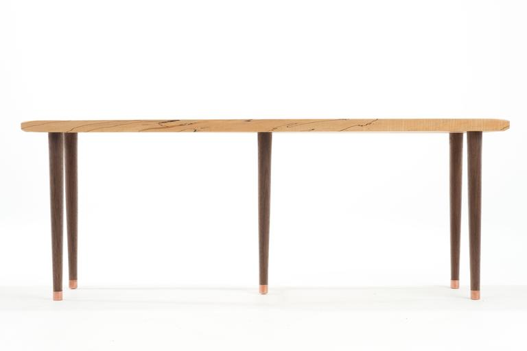 Beveled Prime Bench in Curly, Spalted Maple with Walnut Legs and Copper Capped Feet For Sale