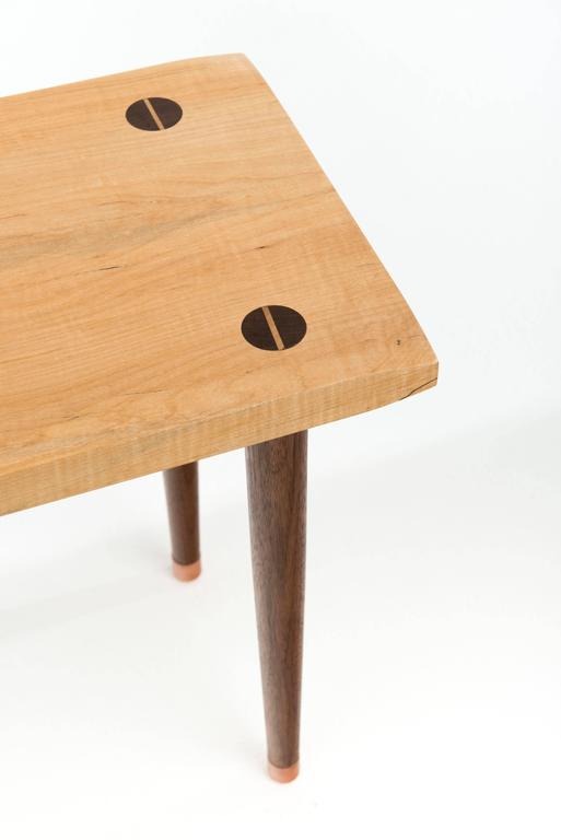 Modern Prime Bench in Curly, Spalted Maple with Walnut Legs and Copper Capped Feet For Sale