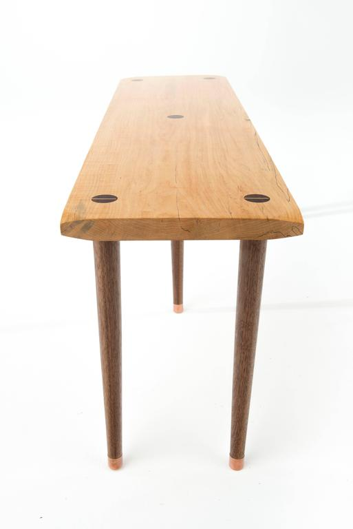 Contemporary Prime Bench in Curly, Spalted Maple with Walnut Legs and Copper Capped Feet For Sale