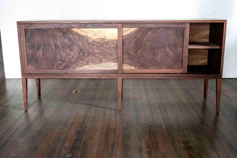 American Delta Cabinet in Walnut and Copper with Sliding Doors and Tapering Faceted Legs For Sale