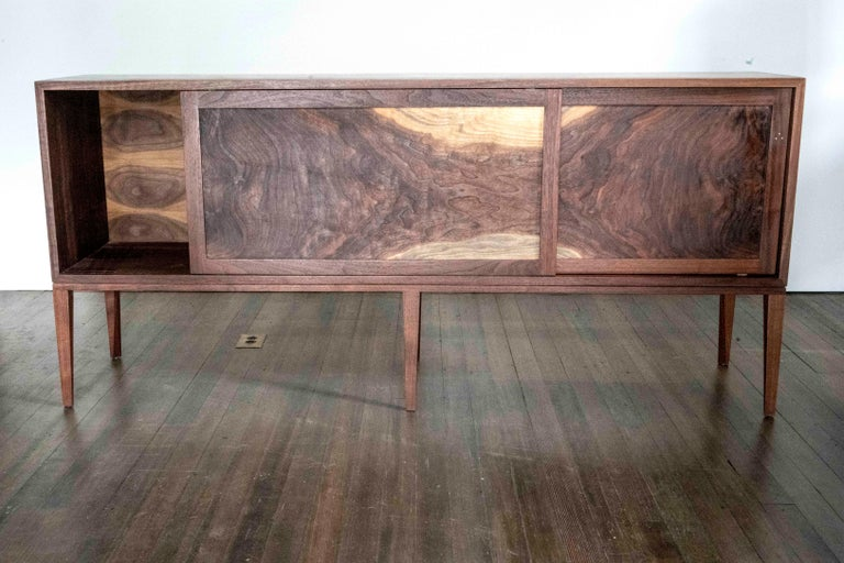 Hand-Crafted Delta Cabinet in Walnut and Copper with Sliding Doors and Tapering Faceted Legs For Sale