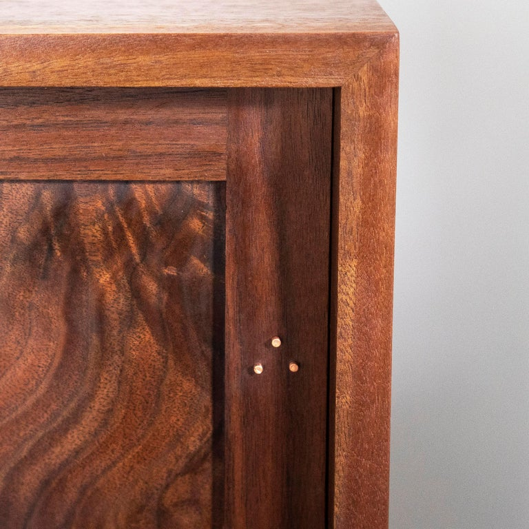 Delta Cabinet in Walnut and Copper with Sliding Doors and Tapering Faceted Legs In New Condition For Sale In Gallatin, NY