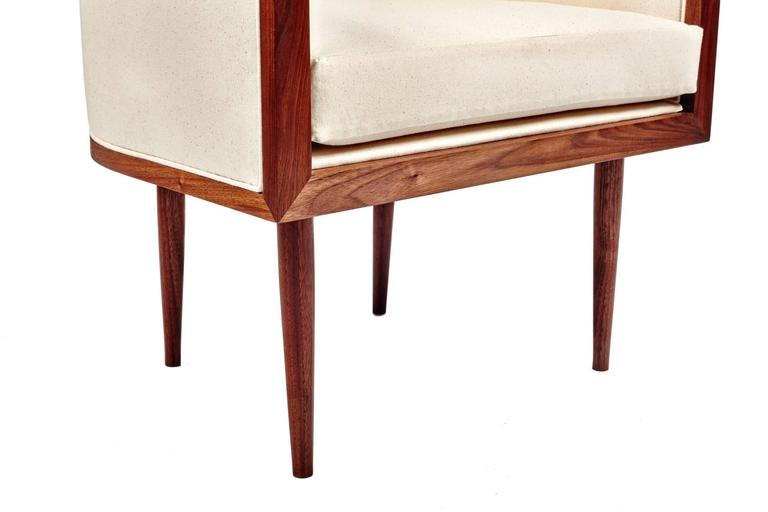 Joinery Walnut Banded Barrel Back Chair with Hand-Turned, Tapered Legs For Sale
