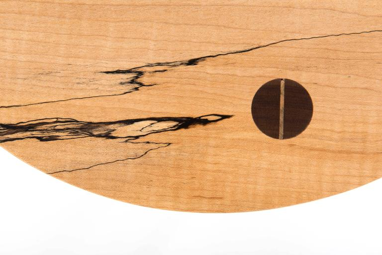 Modern Prime Tea Table in Curly, Spalted Maple with Turned Walnut Legs Capped in Copper For Sale