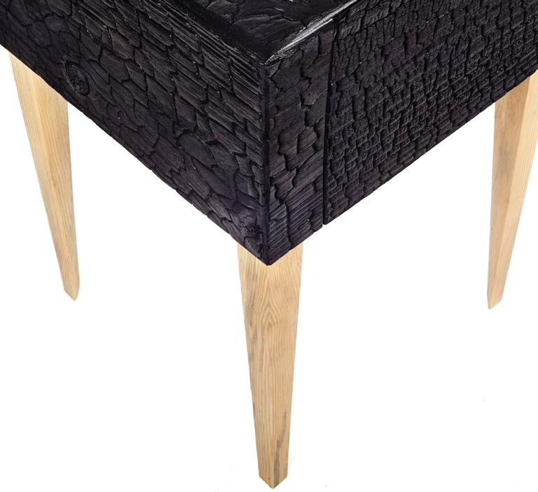 Modern Charred End Table in Loblolly Pine with Single Drawer and Triangular Legs For Sale