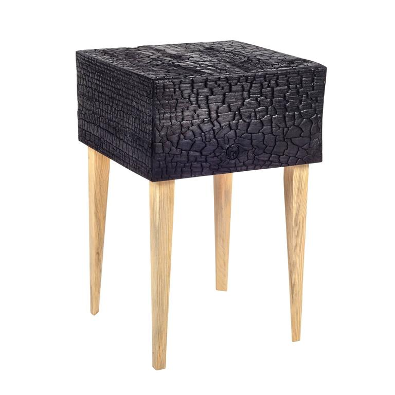 American Charred End Table in Loblolly Pine with Single Drawer and Triangular Legs For Sale