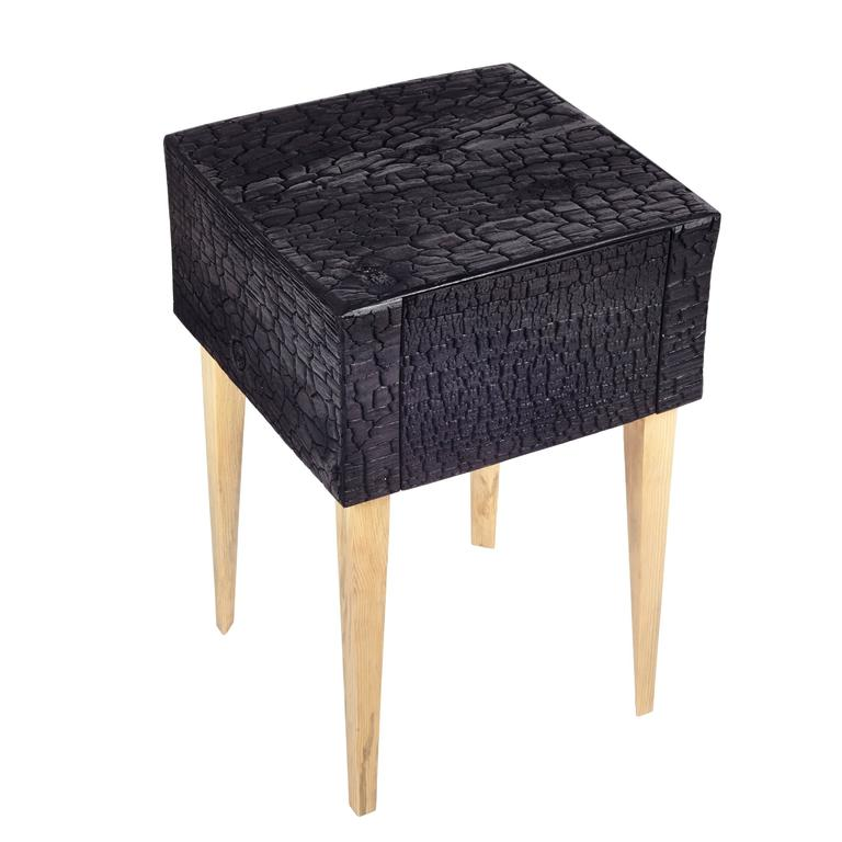 Charred End Table in Loblolly Pine with Single Drawer and Triangular Legs In New Condition For Sale In Gallatin, NY