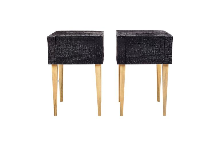 Contemporary Charred End Table in Loblolly Pine with Single Drawer and Triangular Legs For Sale