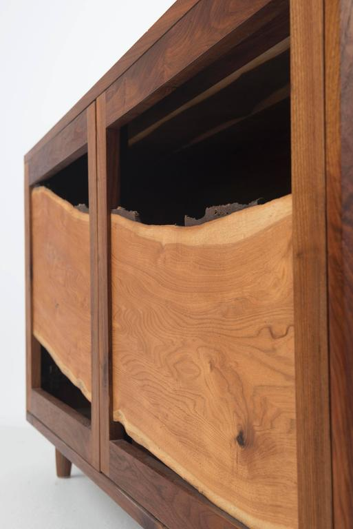 Sweep Cabinet in Black Walnut and Live Edged Butternut with Hand-Turned Legs In Good Condition For Sale In Gallatin, NY