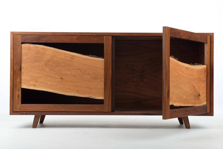 Modern Sweep Cabinet in Black Walnut and Live Edged Butternut with Hand-Turned Legs For Sale