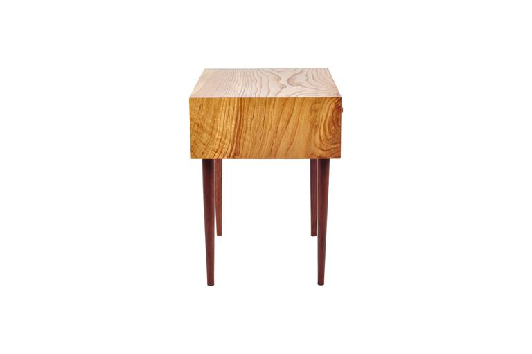 Modern End Table in Chestnut Oak and Hand-Turned Walnut with a Single Drawer For Sale