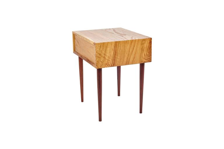 American End Table in Chestnut Oak and Hand-Turned Walnut with a Single Drawer For Sale
