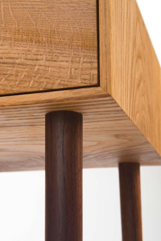 Contemporary End Table in Chestnut Oak and Hand-Turned Walnut with a Single Drawer For Sale