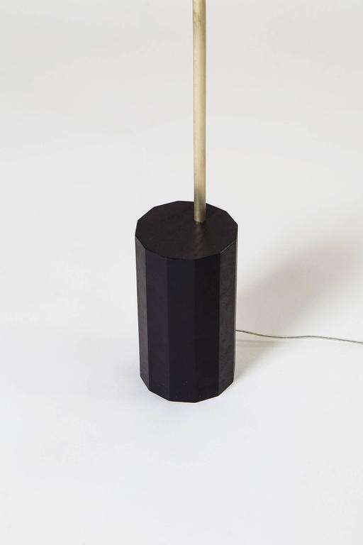 Bishop Task Floor Lamp with Brushed Brass, Blackened-Steel Shade, and Black Oak In Excellent Condition For Sale In Brookyn, NY