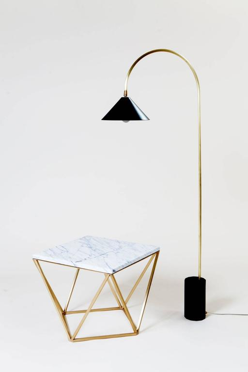 Contemporary Bishop Task Floor Lamp with Brushed Brass, Blackened-Steel Shade, and Black Oak For Sale
