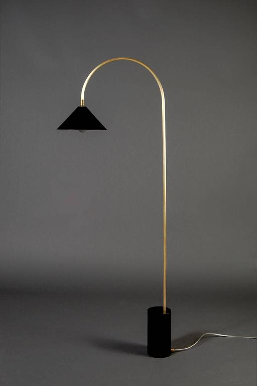American Bishop Task Floor Lamp with Brushed Brass, Blackened-Steel Shade, and Black Oak For Sale