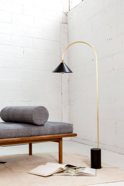 Modern Bishop Task Floor Lamp with Brushed Brass, Blackened-Steel Shade, and Black Oak For Sale