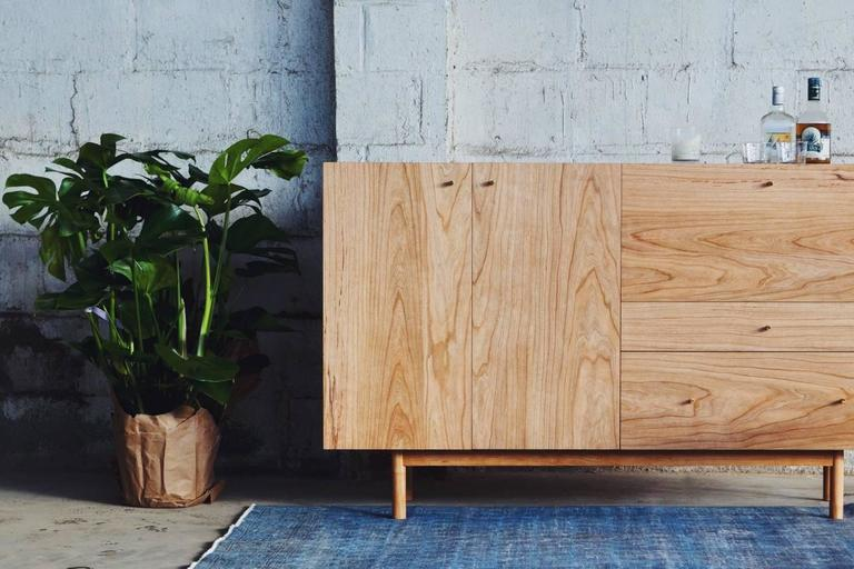 American Rex Sideboard in Cherry-wood with Hand Spun Gold Pulls and Drop-down Mirror For Sale