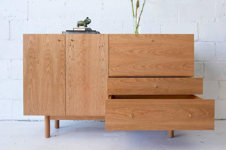 Hand-Crafted Rex Sideboard in Cherry-wood with Hand Spun Gold Pulls and Drop-down Mirror For Sale