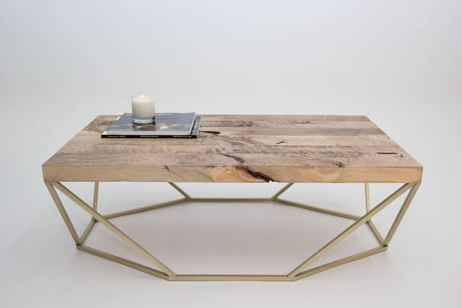 Dusk coffee table small in salvaged wood and brushed brass for sale at 1stdibs Brass round coffee table