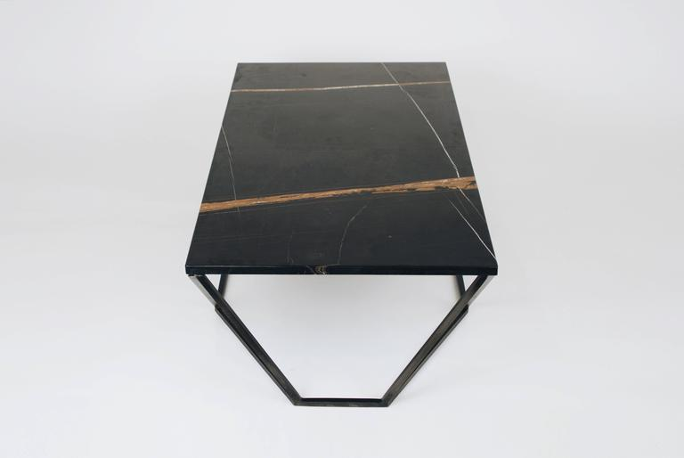 Modern Dusk Coffee Table, Small in Polished Black Marble and Blackened Steel For Sale