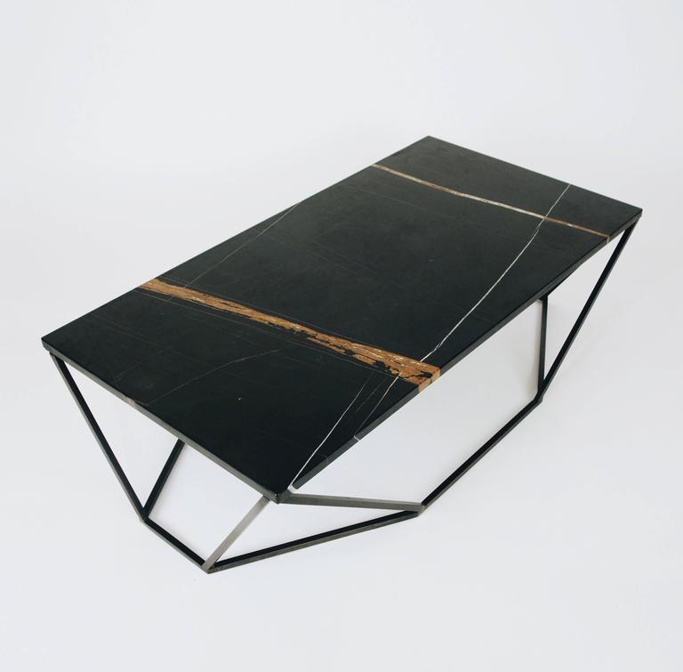 American Dusk Coffee Table, Small in Polished Black Marble and Blackened Steel For Sale