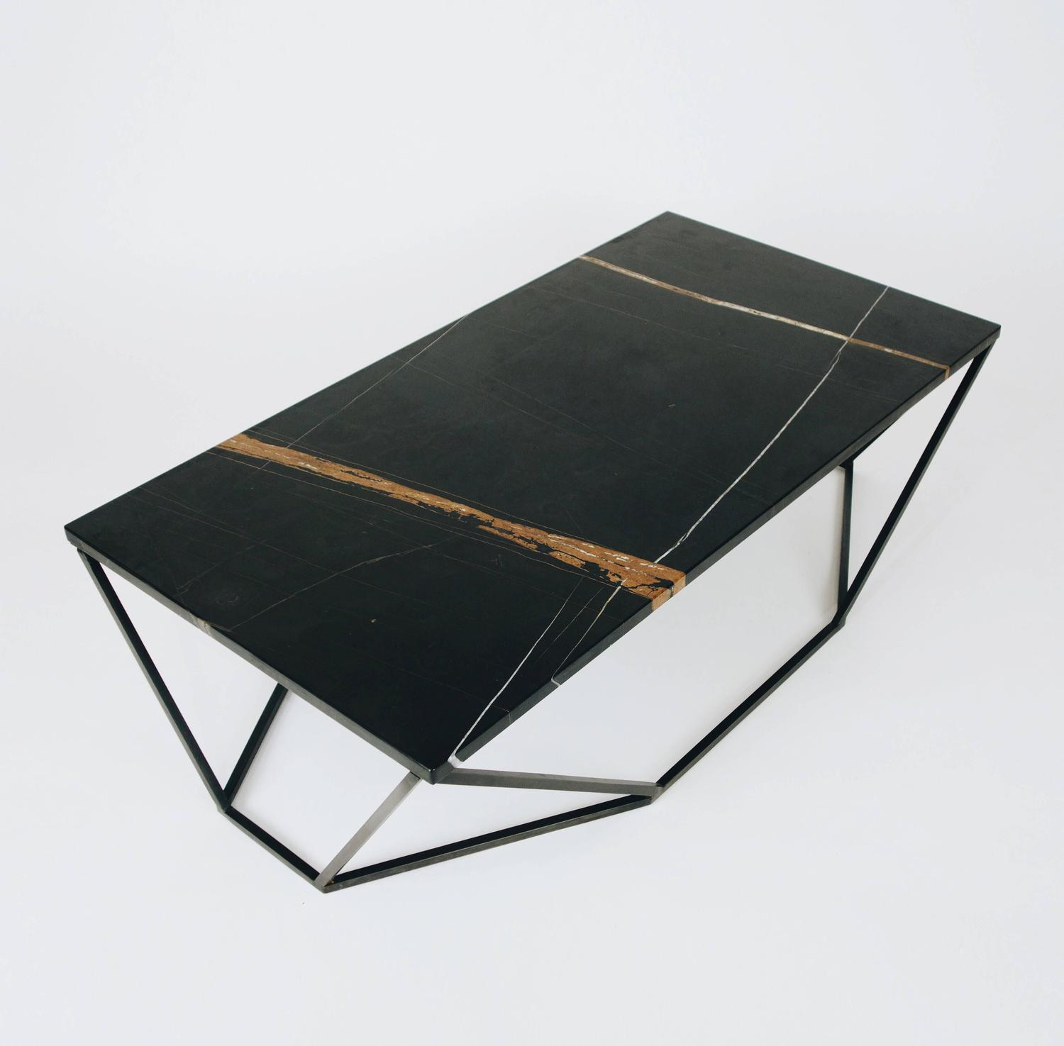Found Square Coffee Table In Black Marble And Black Steel: Dusk Coffee Table, Small In Polished Black Marble And
