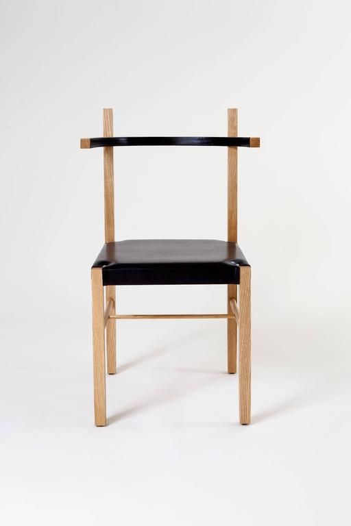 American Soren Chair in Cinnamon Ashwood and Black Leather For Sale