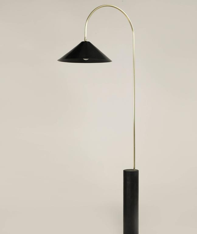 Bishop Tall Floor Lamp with Brushed Brass, Blackened-Steel Shade and ...