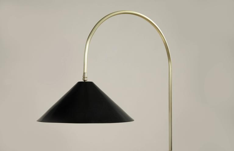 American Bishop Tall Floor Lamp with Brushed Brass, Blackened-Steel Shade and Black Oak For Sale