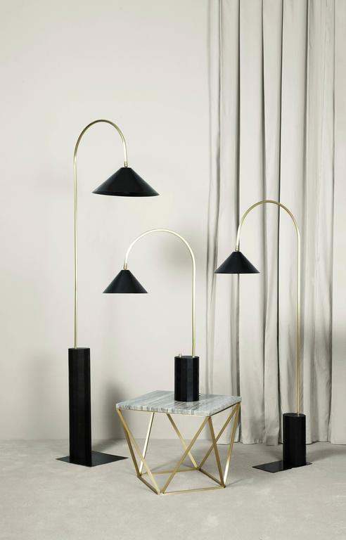 Contemporary Bishop Tall Floor Lamp with Brushed Brass, Blackened-Steel Shade and Black Oak For Sale