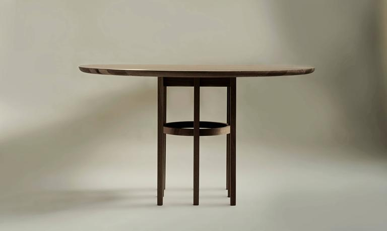 Vegetable Dyed Soren Dining Table in Matte White Oak and Black Leather For Sale